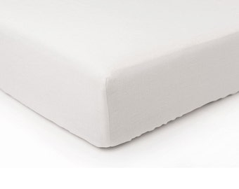 White linen fitted sheet Queen Twin King or custom size bed sheet