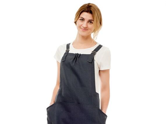 Linen pinafore apron Custom color natural aprons