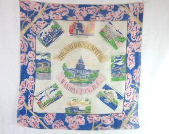 Vintage Washington DC Tourist Scarf Historical Landmarks Large 100% Silk Historial Landmarks Cherry Blossom Trees