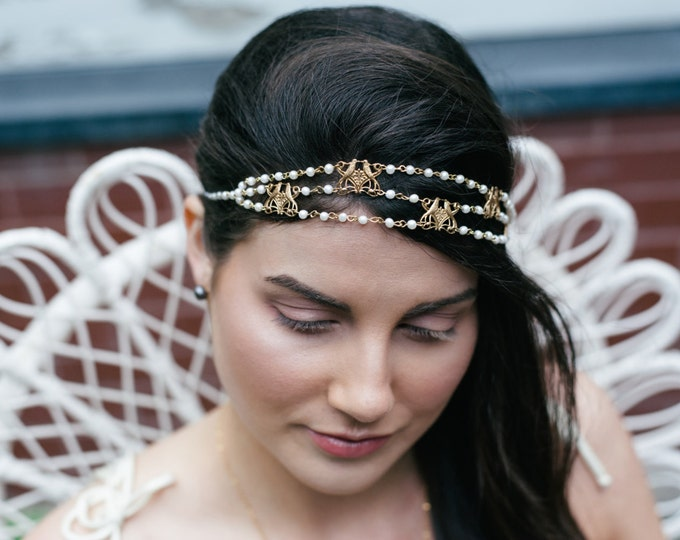 NEW Majorelle Headpiece - Bridal pearl headband - bird of paradise hair chain art nouveau - victorian reign tiara - MADE to MEASURE