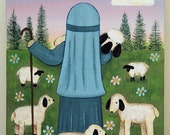 RESERVED FOR RAESSPIRIT - Custom  5 x 7 inch Original Painting of Shepherd in Field with Sheep, Dove