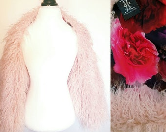 Pink Mongolian Faux Fur Shrug | Pink Faux Fur Wrap | Pink Shrug | Pink Fur Stole | Fur Jacket Fur Bolero Shrug | Long Sleeve Fur Shrug
