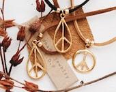 VPN-01, repurposed vintage gold peace sign vegan leather choker/necklace/bracelet/anklet