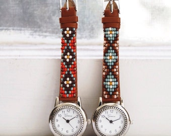 BLW-15,Native American inspired hand-beaded genuine leather watch