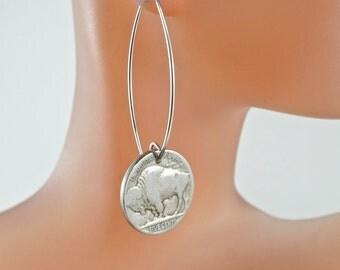 Nickel earrings  / Buffalo Earrings /  buffalo head coins / Indian Head Earrings / US Earrings / Coin Earrings / Coin Jewelry No.0066
