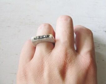 Deer Antler Pyrite Ring Raw Rough Cut Gemstone Horn Ring Boho Chic