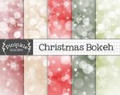 Bokeh Christmas Digital Paper, Snowflake Digital Paper, Red Bokeh Background, Snowflake Scrapbook Paper, Commercial Use