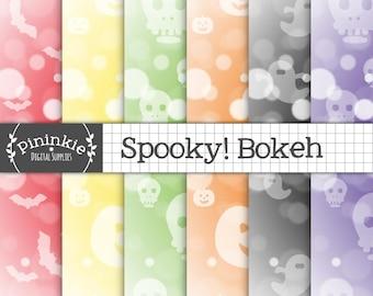 Halloween Digital Paper, Bokeh Digital Paper, Halloween Scrapbook Paper, Bokeh Scrapbook Paper, Commercial Use, Pumpkin Digital Paper, Ghost
