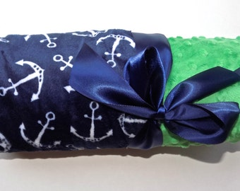 Nautical Baby Blanket - Minky Monogrammed - Kelly Green, Navy Blue and White,  Anchors Personalized Blanket