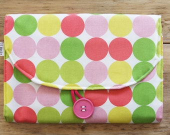 Diaper Changing Pad - Diapering on the Go - Pink Yellow Green Big Dots with Animals