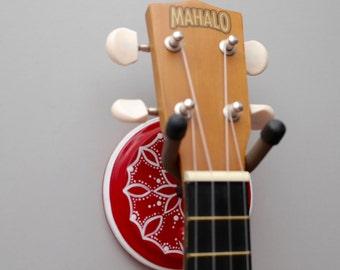 Black & Red Instrument Wall Hanger Hook for Ukulele, Fiddle, Mandolin, Violin or Guitar - Ready to Ship