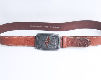 Vintage Fossil Men's Brown Leather Belt with Removable Buckle