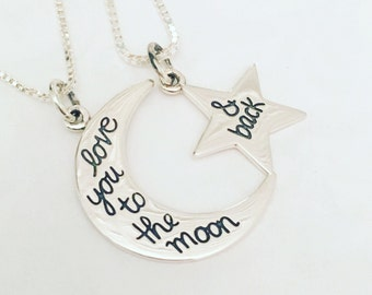 Love You to the Moon and Back Star and Moon Set - Mother Daughter Necklaces - Best Friend Necklaces - Necklace Gift Set- Mothers Day Gift