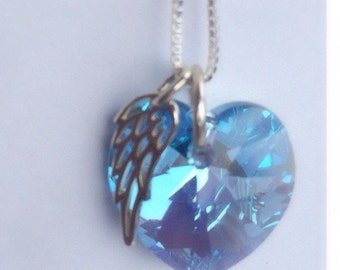 Sympathy Jewelry - Memorial Jewelry- Angel wing necklace - March  June Birthstone Swarovski - Blue Crystal  Angel Memorial Necklace - Silver