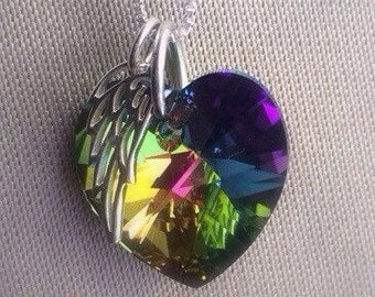 Sale- Miracle Jewelry - New Mom Jewelry - Baby Shower Gift - Rainbow Baby  - Swarovski Crystal - Rainbow Angel Wing Necklace