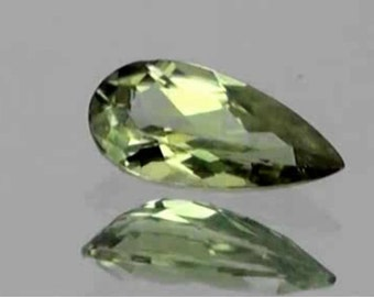 Unique Greenish Gold, Color Shift Diaspore Faceted Pear shape , .98 Carats, 9 x 5 MM , Not Zul,,,,