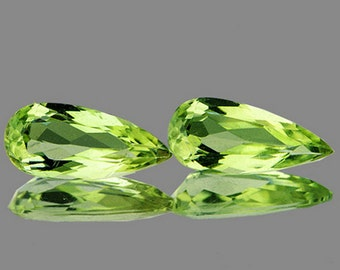 Gemmy Light Greenish Gold, Color Shift Diaspore Faceted Pear Shape Matched Pair , 2.43 Carats, 11 x 4 MM
