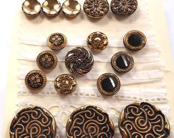 Black glass vintage buttons with gold lustre  (Ref N20)