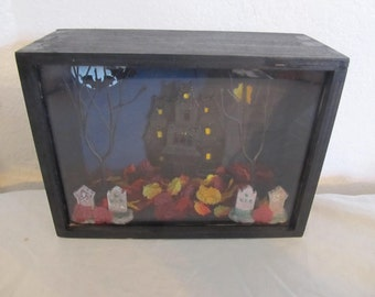 Spooky Haunted House at Night Shadowbox Diorama