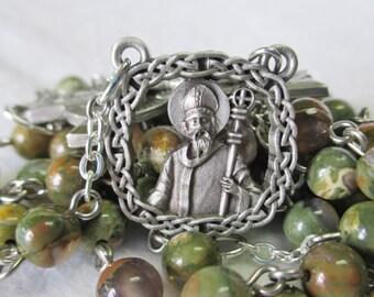 Handmade Irish Celtic Catholic Rosary, 6mm Smooth Round Natural Rhyolite Gemstone Beads, Pewter St Patrick Center and Matching Crucifix