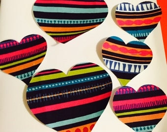 "Fusible Psychedelic Die Cut Appliqué Hearts (2"" and 3"")"