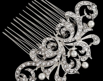 Pearl comb, bridal comb, pearl bridal comb, 1920s comb, nouveau hair comb, ivory pearl comb, crystal hair comb, bridal rhodium hair comb,