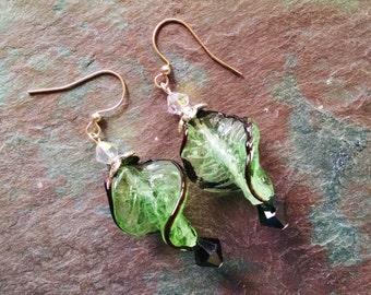 Leaf dangle earrings, Green swirl glass leaf earrings with black and clear crystal