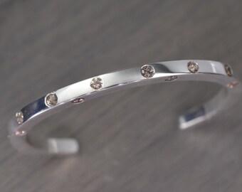 Peach Zircon Cuff, silver gemstone stacking bracelet - Casper Cuff