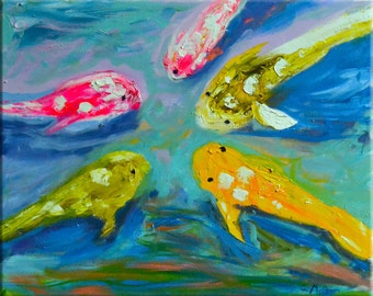 "Original Large Abstract Koi Oil Painting- ""Koi Reflections""- by Claire McElveen"