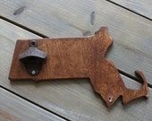 State Bottle Opener - Wooden Massachusets, English Chestnut Stain, All states avaliable
