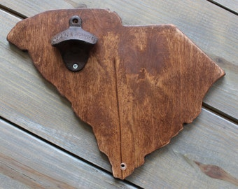 State Bottle Opener - Wooden South Carolina, English Chestnut Stain, All states avaliable