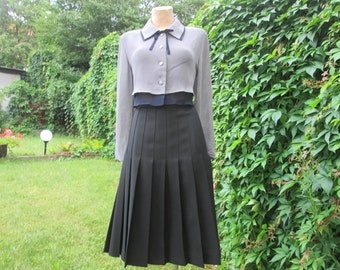 Woolen Skirt / Wool Pleated Skirt / Pleated Skirt / Pleated Skirts / Black Skirt / Black Pleated Skirt / Lining / Size EUR44 / UK16
