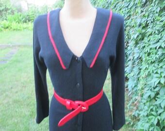Wool Dress / Woolen Dress / Angora Dress / Pencil Dress / Dress Vintage  / Black Wool Dress / Pencil Wool Dress / Size EUR30 / UK10