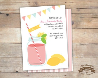 Lemonade Party Invite, DIY Printable