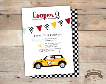 Mini Cooper Car, Birthday, Baby Shower Invite- 5x7 DIY