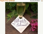 """VALENTINES WEEKEND SALE 11 - Adorable """"Will You Be My Bridesmaid"""" Wedding Party invitation - Wine Glass Tags - 11 pack"""
