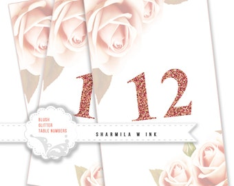 Printable Glitter Wedding Table Numbers 1 - 12 | Instant Download | Events | Banquet | Anniversary | Reception