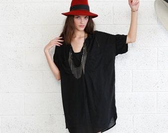 Summer SALE Black Pocket Dress- Black Knee Length Summer Dress