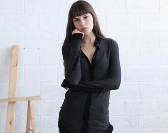 Summer SALE Striped Knit blouse, Dark Gray