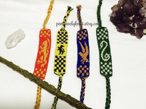 Harry Potter House Banner Friendship Bracelet Gryffindor Hufflepuff Ravenclaw Slytherin