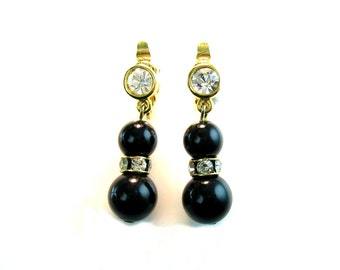 Trifari Earrings. Rhinestone Rondelles, Black Bead Dangles, Clip On. Vintage 1980s Jewelry