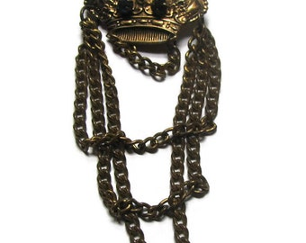 Royal old  brass crown with prongset stones and dangling chains