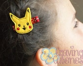 Pokemon Inspired Hair Clip, Badge Reel, Planner Accessory, or Book Mark - Meet Pikachu