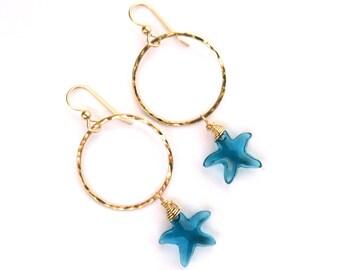 Gold Hammered Hoops, Turquoise Swarovski Starfish Crystals, Hawaii Beach Jewelry, Sparkling Earrings, Christmas Gift Idea, Mermaid Fashion