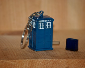 4GB 8GB Tardis ® Doctor Who ® Dr. Who ® flash drive USB macbook pro keychain laptop mac pc ipad gift computer accessory gadget data storage