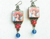 Mexican Calendar Girl Earrings, Mexican Assemblage Photo Earrings