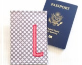 Personalize Passport Cover Travel Wallet Destination Wedding Gray Coral Bridesmaids Maid of Honor Gifts Monogrammed Cruise Passport Holder