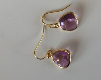 Pink and gold dangle earrings bridesmaid jewelry, wedding earrings, bridal jewelry