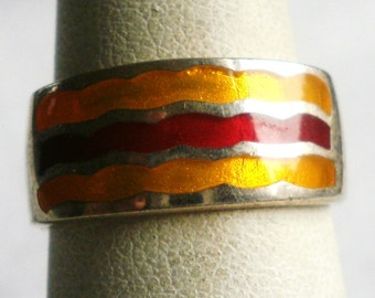 Sterling Silver Red And Orange Enameled Ring-Size 6 3/4