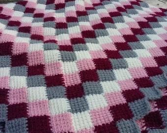 Handmade Throw Crochet Afghan Blanket